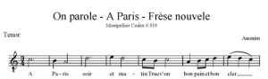 On parole - A Paris - Frèse nouvele - ATB - tenor