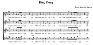 Ding Dong - stary francuski kanon - SATB - partytura