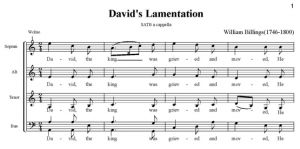 2. Billings - David\'s Lamentation SATB - partytura