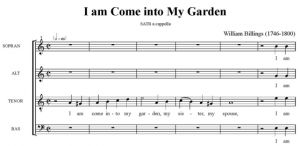2. Billings - I am come into My Garden SATB - partytura