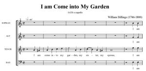 1. Billings - I am come into My Garden SATB - partytura i głosy całość