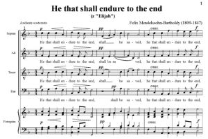 7. He that shall endure to the end - SATB - fortepian